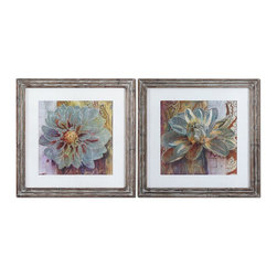 Uttermost - Uttermost Sublime Truth Floral Art, Set of 2 34036 - Prints are surrounded by offwhite linen mats then encased by reclaiMedium size: woodlook frames featuring heavily distressed browns with a heavy taupe and gray glaze. Prints are under glass.
