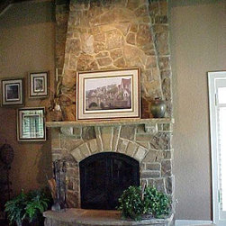 """Stone Fireplace - Part of my dream """"escape"""" room is a fireplace to curl up in front of with a good book and a cup of tea. I love the look of stone: it's down to earth and not too ornate."""