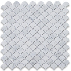 Carrara White River Rocks Pebble Stone Mosaic Tile Tumbled - Marble from Italy - Premium Grade Shell Shaped Carrara Marble Mosaic tiles. Italian Bianco Carrera White Venato Carrara Polished 12 x 12 Medium Fish Scale Fan Shaped Mosaic Wall & Floor Tiles are perfect for any interior/exterior projects. The Carrara White Marble Shell Shaped Fish Scale Mosaic tiles can be used for a bathroom flooring, shower surround, gardern, paving, balcony, corridor, terrace, spa, pool, fountain, etc. Our Premium White Carrera Marble 2 inch Fan Shaped Fish Scale Mosaic tiles with a large selection of coordinating products is available and includes white marble hexagon, herringbone, basketweave mosaics, 12x12, 18x18, 24x24, subway tiles, moldings, borders, and more.
