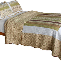 Blancho Bedding - [Beige Paisley] Cotton 3PC Vermicelli-Quilted Patchwork Quilt Set (Full/Queen) - Set includes a quilt and two quilted shams. Shell and fill are cotton. For convenience, all bedding components are machine washable on cold in the gentle cycle and can be dried on low heat and will last you years. Intricate vermicelli quilting provides a rich surface texture. This vermicelli-quilted quilt set will refresh your bedroom decor instantly, create a cozy and inviting atmosphere and is sure to transform the look of your bedroom or guest room. Dimensions: Full/Queen quilt: 90 inches x 98 inches. Standard sham: 20 inches x 26 inches.