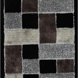 Rug Factory - Shaggy Design 30 Black 2' x 3' Size Area Rug - Shaggy design 30 black 2' x 3' size area rug. These shags offer a dense, shed free, easy to clean and sensuously soft surface that is sure to be a toe curling pleaser. Vibrant colors, geometric patterns and designs. are hand tufted using a blend of ultra fine raw materials for a plush and soft feel.
