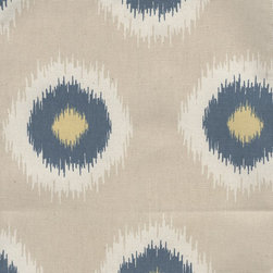"""Close to Custom Linens - 72"""" Shower Curtain Ikat Domino Denim Blue Khaki Natural - Ikat Domino is a medium scale print in denim blue and khaki with yellow accents. Reinforced button holes for 12 curtain rings.Total Size is 75"""" wide x 72"""" long."""