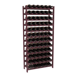 72 Bottle Stackable Wine Rack in Pine with Burgundy Stain - Four kits of wine racks for sale prices less than three of our 18 bottle Stackables! This rack gives you the ability to store 6 full cases of wine in one spot. Strong wooden dowels allow you to add more units as you need them. These DIY wine racks are perfect for young collections and expert connoisseurs.