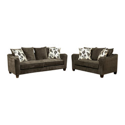 "Benchley - 2-Piece Armano Slate Fabric Upholstered Sofa and Love Seat Set with Square Arms - 2-Piece armano slate fabric upholstered sofa and love seat set with square arms. Sofa measures 93"" x 39"" x 38"" H. Love seat measures 68"" x 39"" x 38"" H. Chair and ottoman also available separately. This set is also available in gray and bisque not shown."