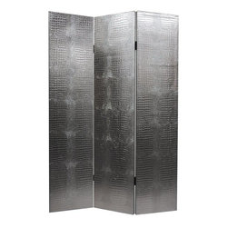 Oriental Furniture - 6 ft. Tall Faux Leather Silver Crocodile Room Divider - This lovely silver faux crocodile screen is a stunner. You'll love the warmth, substance, and undeniable, if surprising elegance one can add to any room in your home, even though, of course it's faux skin!
