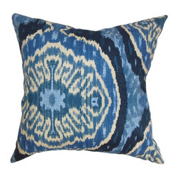"The Pillow Collection - Iovenali Ikat Pillow Blue 18"" x 18"" - Striking and unique, this square pillow makes a great accent piece for your interiors. This accent pillow is decorated with a traditional ikat pattern in different hues of blue and natural. The intricate and colorful pattern brings a refreshing look to your living space. You can place this 18"" pillow anywhere inside your home from your living room to your bedroom. This invitingly soft decor pillow is made of 100% high-quality cotton material. Hidden zipper closure for easy cover removal.  Knife edge finish on all four sides.  Reversible pillow with the same fabric on the back side.  Spot cleaning suggested."