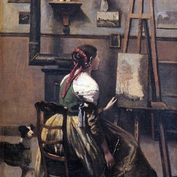 "Jean-Baptiste-Camille Corot The Artist's Studio  Print - 16"" x 24"" Jean-Baptiste-Camille Corot The Artist's Studio premium archival print reproduced to meet museum quality standards. Our museum quality archival prints are produced using high-precision print technology for a more accurate reproduction printed on high quality, heavyweight matte presentation paper with fade-resistant, archival inks. Our progressive business model allows us to offer works of art to you at the best wholesale pricing, significantly less than art gallery prices, affordable to all. This line of artwork is produced with extra white border space (if you choose to have it framed, for your framer to work with to frame properly or utilize a larger mat and/or frame).  We present a comprehensive collection of exceptional art reproductions byJean-Baptiste-Camille Corot."