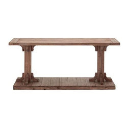 Benzara - Classic Wooden Light Brown Console Table - Classic Wooden Light Brown Console Table. This classic wooden table and two legs on a wooden base is very stylish and gives an essence of antique decor. Some assembly may be required.