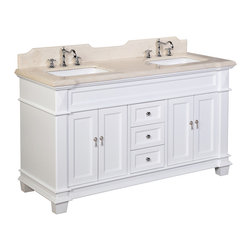 Kitchen Bath Collection - Elizabeth 60-in Double Sink Bath Vanity (Crema Marfil/White) - This bathroom vanity set by Kitchen Bath Collection includes a white cabinet with soft-close drawers and self-closing door hinges, Spanish Crema Marfil countertop with stunning beveled edges (an incredible 1.5 inches thick at the edge!), undermount ceramic sinks,pop-up drains, and P-traps. Order now and we will include the pictured three-hole faucet and a matching backsplash as a free gift! All vanities come fully assembled by the manufacturer, with countertop & sink pre-installed.