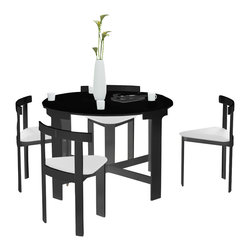 """Corner II - Corner II NORDIC Midnight 5 Piece Dinette Set - The NORDIC MIDNIGHT Infinity 5 piece dinette has a beautiful unique look and is perfect for small spaces! Includes 4 chairs that fit neatly into the table, creating a clean illusion of 1 piece of furniture when not in use. 42"""" H x 42"""" W x 30"""" L. (44 lbs.)"""