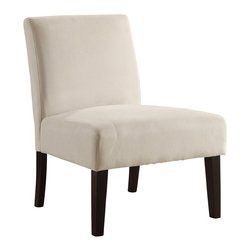 Ave Six - Accent Chair in Oyster - Attractive and comfortable. Covered in high performance, easy care velvet fabric. Foam cushions. Attractive solid wood legs. Intended for residential use only. Weight capacity: 250 lbs.. Assembly required. Seat: 25 in. W x 20.75 in. D. Back: 23 in. W x 14.5 in. H. Overall: 25 in. W x 27.5 in. D x 32.75 in. H