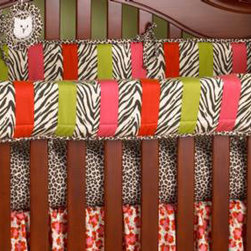 Cotton Tale Designs - Here Kitty Kitty Front Cover Up - A quality baby bedding set is essential in making your nursery warm and inviting. All Cotton Tale patterns are made using the finest quality materials and are uniquely designed to create an elegant and sophisticated nursery. Wild and fun Here Kitty Kitty is 100% cotton and made in the USA. What a great idea, this front rail cover up protects your foot board on the convertible cribs and it looks great. For the parent choosing not to use a bumper, it can add the needed decor lost when the bumper is removed. Cover ups can be used with a full bumper as well. All Cotton Tale and N. Selby patterns have matching crib rails cover ups. Wash gentle cycle, separate, cold water. Tumble dry low or hang dry. Fun for your special girls nursery.