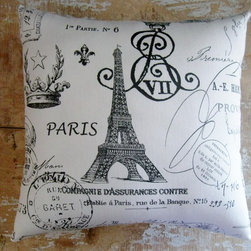 "French Country Pillow, French Decor, Eiffel Tower, Paris, Cottage Decor - This fabric is printed by the manufacturer. The background is white and the images are a charcoal grey. The pillow measures 12""x12"" and is stuffed with polyfil."