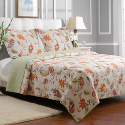 None - Barcelona Cotton 3-piece Quilt Set - Bright blossoms and breeze-borne feathers swirl a torrid dance of color on the Barcelona quilt. Care-free and whimsical,with colors to complement any palette,the Barcelona quilt set reverses to a geometric print in aloe and ivory.