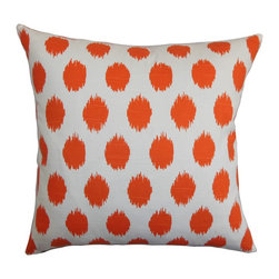 "The Pillow Collection - Kaintiba Ikat Pillow Orange - Fill your room with a visually enticing decor piece like this square pillow. Our pillow collection features some of the most exciting patterns, including this ikat print used in this throw pillow. With an eye-popping orange color, your interiors will certainly have a fun and festive look. This decor pillow makes decorating more enjoyable and affordable. Made of 100% soft cotton material, this 18"" pillow ensures lasting comfort and quality. Hidden zipper closure for easy cover removal.  Knife edge finish on all four sides.  Reversible pillow with the same fabric on the back side.  Spot cleaning suggested."