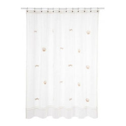 Shower Curtain, Scallop and Starfish, Beige
