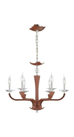 Eurofase - Eurofase 22806-024 Pella 6 Light Chandelier in Chrome with Brown Shade 22806-024 - Clean elegance, distinctive graining of the leather and hand stitching are seen in the Pella collection. Highlighted with crystal accent and bobeches add sparkle to the fixture.Crystal cut accents Uses 6 60-watt candelabra base bulbs (not included) UL listed for safetyBulb Base: Candelabra Bulb Type: Incandescent Chain Cord Length: 72 Collection: Pella Country of Origin: CN Diameter: 25-3 4 Finish: Chrome Height: 19-3 4 Kit: No Number of Lights: 6 Shade Finish: Brown Type: Non Crystal Chandeliers Voltage: 120 Wattage: 60