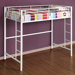 Walker Edison - White Metal Twin Loft Bunk Bed - Beloved for its compact foot print,this loft bed is a necessity for your children's bedroom. The sturdy,steel frame promises stability and function. Features full length guardrails and two integrated ladders.