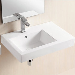Caracalla - Rectangular White Ceramic Wall Mounted Or Vessel Bathroom Sink - Contemporary rectangular bathroom sink designed with extra lip space to the right of the basin. Made entirely of porcelain and finished with a white glaze. May be mounted on vanity as a vessel sink or wall mounted. Has overflow and a single hole for a faucet. Conceptualized by Caracalla in Italy. Vessel or wall mounted. Contains single hole. With overflow. Rectangular bathroom sink. Conceptualized by Caracalla. Standard drain size of 1.25 inches. Because the sink has multiple installations, the back side is not glazed.