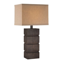 Lite Source - Lite Source Blog 100W Incand. Transitional Table Lamp XSL-52012 - Stacked wood-finished rectangles create texture against a simple frame on this Lite Source table lamp. From the Blog Collection, this transitional table lamp has been finished in a Dark Walnut hue and features a coordinating rectangular linen fabric diffuser that pulls the look together.