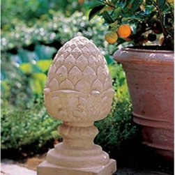 Campania International Pineapple Finial Small Cast Stone Garden Statue - About Campania InternationalEstablished in 1984, Campania International's reputation has been built on quality original products and service. Originally selling terra cotta planters, Campania soon began to research and develop the design and manufacture of cast stone garden planters and ornaments. Campania is also an importer and wholesaler of garden products, including polyethylene, terra cotta, glazed pottery, cast iron, and fiberglass planters as well as classic garden structures, fountains, and cast resin statuary.Campania Cast Stone: The ProcessThe creation of Campania's cast stone pieces begins and ends by hand. From the creation of an original design, making of a mold, pouring the cast stone, application of the patina to the final packing of an order, the process is both technical and artistic. As many as 30 pairs of hands are involved in the creation of each Campania piece in a labor intensive 15 step process.The process begins either with the creation of an original copyrighted design by Campania's artisans or an antique original. Antique originals will often require some restoration work, which is also done in-house by expert craftsmen. Campania's mold making department will then begin a multi-step process to create a production mold which will properly replicate the detail and texture of the original piece. Depending on its size and complexity, a mold can take as long as three months to complete. Campania creates in excess of 700 molds per year.After a mold is completed, it is moved to the production area where a team individually hand pours the liquid cast stone mixture into the mold and employs special techniques to remove air bubbles. Campania carefully monitors the PSI of every piece. PSI (pounds per square inch) measures the strength of every piece to ensure durability. The PSI of Campania pieces is currently engineered at approximately 7500 for optimum strength. Each piece is a