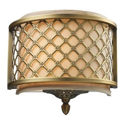 Elk Lighting - Elk Lighting 31030/1 Chester 1-Light Sconce in Brushed Antique Brass - 1-Light Sconce in Brushed Antique Brass belongs to Chester Collection by The Distinguished Metal Lace Pattern, Finished In Brushed Antique Brass, Is The Principle Design Feature Which Envelopes A Rich Cream Fabric Shade. A Frosted Amber Glass Diffuser Completes The Design While Masking The Direct Light For A Warm, Ambient Radiance. Sconce (1)