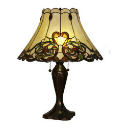 """Z-Lite - Z-Lite H18-5TL Jubilee 23"""" Height Table Lamp with Multi Colored Tiffany Glass an - Z-Lite H18-5TL 23"""" Height Multi Colored Tiffany Table Lamp with Double Pull Chain from the Jubilee CollectionUnique and trendy this 23"""" height table lamp features the splendid multi color Tiffany glass shade with a chestnut bronze finish. Z-Lite H18-5TL Features:"""