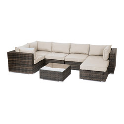 "Reef Rattan - Reef Rattan London 7 Pc Sectional Sofa Set - Chocolate Rattan / Beige Cushions - Reef Rattan London 7 Pc Sectional Sofa Set - Chocolate Rattan / Beige Cushions. This patio set is made from all-weather resin wicker and produced to fulfill your needs for high quality. The resin wicker in this patio set won't fade, shrink, lose its strength, or snap. UV resistant and water resistant, this patio set is durable and easy to maintain. A rust-free powder-coated aluminum frame provides strength to withstand years of use. Sunbrella fabrics on patio furniture lends you the sophistication of a five star hotel, right in your outdoor living space, featuring industry leading Sunbrella fabrics. Designed to reflect that ultra-chic look, and with superior resistance to the elements in a variety of climates, the series stands for comfort, class, and constancy. Recreating the poolside high end feel of an upmarket hotel for outdoor living in a residence or commercial space is easy with this patio furniture. After all, you want a set of patio furniture that's going to look great, and do so for the long-term. The canvas-like fabrics which are designed by Sunbrella utilize the latest synthetic fiber technology are engineered to resist stains and UV fading. This is patio furniture that is made to endure, along with the classic look they represent. When you're creating a comfortable and stylish outdoor room, you're looking for the best quality at a price that makes sense. Resin wicker looks like natural wicker but is made of synthetic polyethylene fiber. Resin wicker is durable & easy to maintain and resistant against the elements. UV Resistant Wicker. Welded aluminum frame is nearly in-destructible and rust free. Stain resistant sunbrella cushions are double-stitched for strength and are fully machine washable. Removable covers made with commercial grade zippers. Tables include tempered glass top. 5 year warranty on this product. PLEASE NOTE: Throw pillows are NOT included. Corner Chairs (3): W 33.5"" D 34"" H 26"", Center Chairs (2): W 27.5"" D 34"" H 26"", Ottoman with Cushion: W 26"" 26"" 12"", Coffee Table: W 26"" D 26"" H 12"""