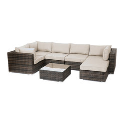 Reef Rattan - Reef Rattan 7 Piece Sectional Sofa Set - Reef Rattan 7 Piece Sectional Sofa Set with Coffee Table Rattan.