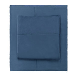 Steel Blue 400 Thread Count Sheets - Woven from premium extra-long staple cotton, in a 400-thread count, single ply, sateen weave, our classic hemmed sheets will feel beautifully smooth and silky against your skin. Its simple yet classic hem gives it crisp and clean lines for a timeless look for your bedroom.