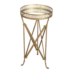 Iron and Glass Accordion Side Table - Brass - Product Features: