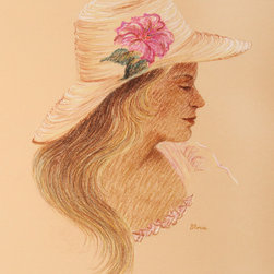 Gloria Trachtenberg, Portrait of Woman in Hat with Hibiscus, Color Pencil Drawin - Artist:  Gloria Trachtenberg, American
