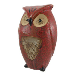 10 Inch Ceramic Owl Statue Home Decor - This beautiful, 10 inch tall ceramic owl statue makes a great gift for owl lovers. The statue has a wonderful mottled brown glaze, with tan accents. It's 10 inches tall, 6 inches wide and 4 1/2 inches deep. It makes a great gift for grads.
