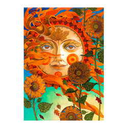 "Harvest Sun By David Galchutt 18""X25"" Gallery Wrapped Canvas - David Galchutt...A native of Southern California, David Galchutt's love of designing and painting came at an early age. He has a strong love of integrating costume design into his illustrations! He was awarded the 2010 award for best children's magazine illustration of the year from the Association of Educational Publishers for an illustration that appeared in Highlights Magazine for Children! Don't miss out on these beautiful gallery wrapped canvas pieces!"