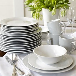 Caterer's Dinnerware Set, Dinner Plates, Set of 12 - Get ready to set the table for season after season of big events. Start with a dozen porcelain salad and dinner plates that are simple and elegant in classic white.Perfect for year-round use.Available as a set of 12.Includes an easy-to-carry, durable storage box.Microwave and dishwasher safe.