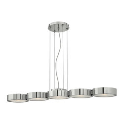 Frederick Ramond - Fredrick Ramond Broadway 5-Light Linear Chandelier - The sleek contemporary cable hung Broadway pendant in a Polished Aluminum finish features a low-profile circular light pod with etched glass diffuser. A detailed mesh up light diffuser adds sophistication to this chic design.