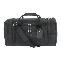 Mercury Luggage - Ballistic Nylon Carry-On Sport Locker Bag - 1680 denier ballistic nylon carry-on sport locker bag. Large main compartment and two end zippered pockets. Two zippered side pockets. Detachable adjustable shoulder strap and luggage tag. Antique brushed silver hardware. 21 in. L x 11.25 in. W x 10 in. H