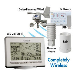 La Crosse Technology - La Crosse Technology Professional Weather Center WS-2810U-IT with Solar Wind Sen - Shop for Weather Instruments from Hayneedle.com! LaCrosse Technology Pro Center Professional Weather Center gives you complete accurate information wirelessly to the indoor base unit. Features a Solar-powered wind sensor and USB transceiver for downloading all historical weather data with storage up to 3 000 sets of data. Pressure graph IN/OUT temp & humidity Wind speed chill direction gust Total & 24 hour rainfall with HI/LO and MIN/MAX value alarms. Includes wireless Thermo-Hygro sensor wireless rain sensor solar-powered wireless wind sensor USB transceiver base unit. Time display in 12/24 hour time format Automatic time and date (PC time) update from USB transceiver if connected Calendar display (date month year) Weather forecast with 3 weather icons (sunny cloudy and rainy) with weather tendency indicator Temperature display in F/ C: from-39.8 F to 139.8 F Humidity display in RH%: from 1% to 99% Dew point display in F/ C: from-39.8 F to 139.8 F Wind chill display in F / C: down to -39.8 F MIN/MAX values of indoor/outdoor temperature indoor/outdoor humidity dew point display with time and date of recordingRelative air pressure reading in inHg/hPa: preset range 27.10 to 31.90 inHg 24h/72h history graph selectable Wind speed displayed in mph km/h m/s knots and Beaufort scale: 0 to 111.8 mphWind speed & direction with LCD compass display (16 steps/ 22.5 degree) MAX records for wind gust with time & date of recording Rainfall display in inch/mm: from 0 to 393.6 Rainfall data for total rain last hour last 24h last week last month Weather alarm modes: temperature humidity wind gust wind direction air pressure 24h rain and storm warning Buzzer on/off select LCD contrast setting Storage of 1750 sets of weather records with user selectable recording interval from 1 minute to 24 hours Weather history PC software: Stores collected weather data creates graphs synchronize