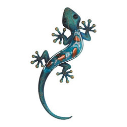 """GSC - 18.5"""" Turquoise Lizard Copper Wall Decoration - This gorgeous 18.5"""" Turquoise Lizard Copper Wall Decoration has the finest details and highest quality you will find anywhere! 18.5"""" Turquoise Lizard Copper Wall Decoration is truly remarkable."""