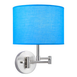 Lite Source - Swing Arm Wall Lamp - Turquoise Fabric Shade - Swing Arm Wall Lamp - Turquoise Fabric Shade