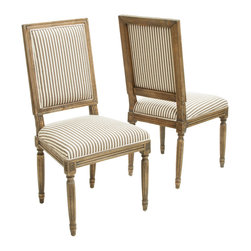Great Deal Furniture - Martin Weathered Dark Coffee Stripe Dining Chairs (Set of 2) - The Martin Weathered Oak Dining Chairs are a perfect addition to any room in your home. These chairs not only embellish any dining set, but they also double as a stand alone set for any parlor or living room. The bold fabric paired with the weathered oak creates blending of style that adds an exciting touch to your interior space.