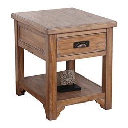 Leick Furniture - Leick Furniture Windswept Storage Lamp End Table in Windswept Oak - Leick Furniture - End Tables - 11007 - The Leick Windswept Storage Lamp End Table brings a casual and familiar presence to any room with its heavily scaled solid wood elements finished to an easy to live with patina. A solid wood storage drawer with full extension ball bearing drawer guides ensures you easy access to all of your stored items. Remote controls can be neatly tucked away leaving your end table clear of clutter allowing the natural beauty of the wood to be front and center. The hand applied multi-step windswept oak finish will turn your living space into a showcase for your guests. Magazines books and decor items have a home on the large display shelf. Add the matching coffee table nesting table and sofa table to the Leick Windswept Storage Lamp End Table for a complete living room ensemble.