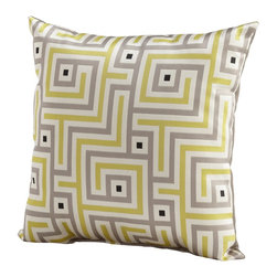 Cyan Design - Cyan Design Maze Pillow - From the Maze Collection, this Cyan Design decorative pillow features a modern geometric pattern that gives it a timeless appeal. The pattern is set against a soft, off-white backdrop and features pops of black in a sea of gray and lime green.