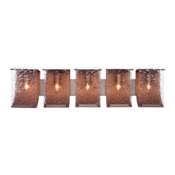 Varaluz Recycled Rain Bath Light - Five Light - We loved sudden summer afternoon thunderstorms while growing up. There's nothing quite so relaxing as seeing and hearing the rain pelt against the window panes and on the tin roof (rusted!). To recreate the impression of beads of rain upon a window, we hand press the glass. The Rainy Night finish is made from streaking an eggplant-black glaze over silver. Hammered Ore is also now available as a standard finish for more rustic settings.