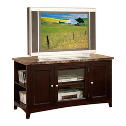 "Acme - Finely Collection Espresso Finish Wood with Faux Brown Marble Top TV Stand - Finely collection espresso finish wood with faux brown marble top TV stand entertainment center with glass front center cabinet. Measures 48"" x 20"" x 27""H. Some assembly required."