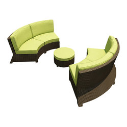 Barbados 3-Piece Curved Patio Sectional Set, Kiwi Cushions