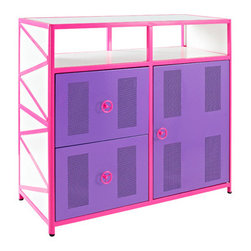 Powell - Powell Girls Buggy One Door Two Drawer Dresser - The Girls Buggy Dresser is perfect for adding an eyecatching, fun accent to a little girls bedroom. The perfect complement to the Girls Jeep Bed or as an accent piece to navigate any girls jungle. Featuring two roomy drawers, shelf space and a storage area behind the door, this piece provides ample storage for all of your little girls possessions.  The bright pink, purple and white finish will add a fun look to any space.