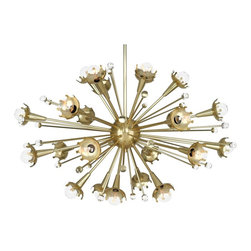 """Jonathan Adler - Crystal Jonathan Adler Sputnik 24-Light Antique Brass Chandelier - Designed by Jonathan Adler for Robert Abbey this sputnik style antique brass chandelier has radiant retro appeal. Twenty four crown shaped fixtures extend in a starburst pattern to house candelabra bulbs. An antique brass finish and crystal accents add a touch of mid-century style. Antique brass finish. Crystal accents. Twenty four maximum 40 watt G16 1/2 candelabra bulbs (not included). 33 1/2"""" diameter. 21"""" high. Minimum drop 30"""". Maximum drop 60"""". Canopy is 5 1/2"""" diameter. Includes one 6"""" and three 12"""" downrods.  Antique brass finish.   Crystal accents.   A large chandelier ideal for oversized rooms.  Twenty four maximum 40 watt G16 1/2 candelabra bulbs (not included).   33 1/2"""" diameter.   21"""" high.   Minimum drop 30"""".   Maximum drop 60"""".   Canopy is 5 1/2"""" diameter.   Includes one 6"""" and three 12"""" downrods."""