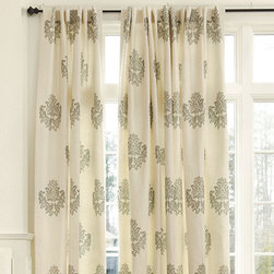 Ballard Designs - Bingham Printed Damask Panel - I love the fresh, clean look of this patterned curtain that can provide privacy and softness at the same time. The pattern adds interest without being overwhelming.