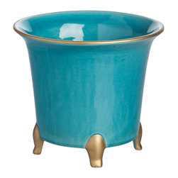 Abigails - Jaipur Cachepot, Turquoise with Gold, Large - A handy container for fresh flowers or to use with a plant.  Good size with just a touch of gold to dress it up. Made in Portugal.